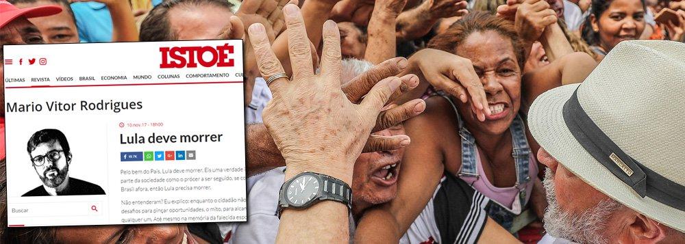 """O Partido dos Trabalhadores decidiu acionar criminalmente o colunista Mario Vitor Gonçalves, que publicou o artigo """"Lula deve morrer""""; """"O título é tipicamente uma incitação ao crime, conforme previsto no artigo 286 do Código Penal Brasileiro"""", diz nota do PT; """"Este episódio demonstra até que ponto setores da direita e das elites estão dispostos a chegar para impedir o retorno de Lula à presidência da República pelo voto do povo brasileiro"""""""