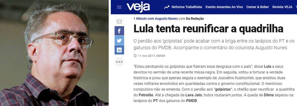 """Jornalista critica reportagem que diz que o ex-presidente Lula """"quer tentar reunificar a quadrilha do petrolão"""", um comentário do colunista Augusto Nunes; """"Quando você imagina que a Veja vai tentar voltar a um jornalismo minimamente decente, a síndrome do escorpião fala mais alto"""", postou Nassif no Twitter"""
