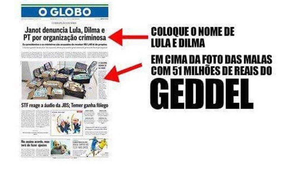 """""""O que tem sido praticado por alguns dos grandes veículos de comunicação brasileiros pode ser chamado de tudo, menos de jornalismo. O facciosismo com que informam, desinformam ou deformam há tempos atingiu níveis insuportáveis de irresponsabilidade"""", escreve o deputado federal Orlando Silva, do PCdoB; ele critica """"falsificações, manipulações canhestras e irresponsáveis, que visam enganar o leitor desatento"""", e destaca que este é o caso da capa do jornal O Globo desta quarta-feira 6, que estampou a foto dos R$ 51 milhões de Geddel Vieira Lima, encontrados num apartamento, com uma manchete sobre denúncia apresentada contra Lula e Dilma, insinuando que o dinheiro seria dos ex-presidentes"""