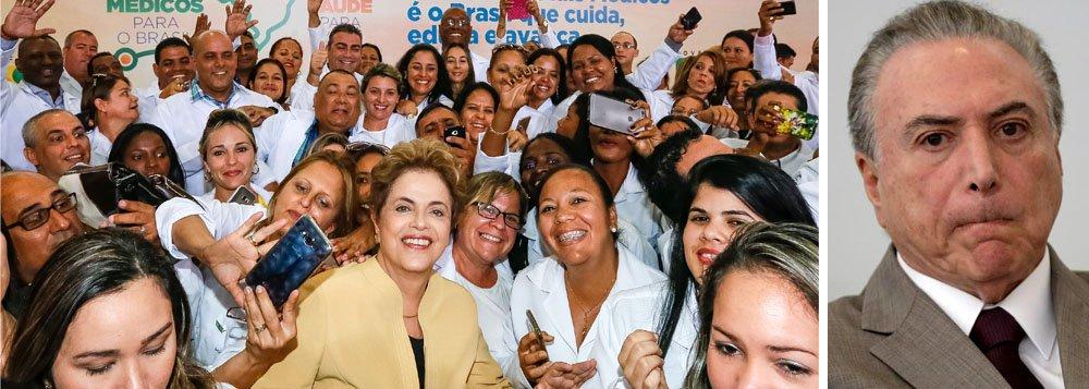 """A presidente deposta Dilma Rousseff criticou o decreto de Michel Temer que proíbe a criação de novos cursos de Medicina no País por um período de cinco anos, atendendo a um lobby da corporação; em sua página na internet, Dilma lembrou que o Brasil tem no máximo a metade do número de médicos de que necessita e a maioria se concentra nos grande centros urbanos; """"Quando criamos o programa Mais Médicos, 700 municípios brasileiros não tinham nenhum médico, 1.900 municípios tinham apenas um médico e outras tantas cidades só contavam com um médico alguns dias por semana"""", diz Dilma; """"Nós fizemos o Mais Médicos, programa aprovado pela população atendida. O Governo golpista, fiel a sua vocação antipopular, coloca em prática o 'Menos Médicos'"""", criticou a petista"""