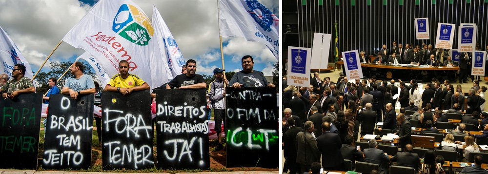 """Segundo pesquisa Vox Populi, 79% dos trabalhadores brasileiros não votarão em deputados que aprovaram a reforma trabalhista do governo Temer, cujas regras entram em vigor no próximo dia 11; para o presidente da CUT, Vagner Freitas, os dados da pesquisa mostram o que temos afirmado para os trabalhadores: """"A grande maioria dos parlamentares está no Congresso Nacional para defender os próprios interesses e não os direitos dos trabalhadores""""; a reforma foi aprovada na Câmara em abril, sob protestos de deputados da oposição, que levaram cartazes da carteira de trabalho e caixões, declarando a morte da CLT, e em julho no Senado"""