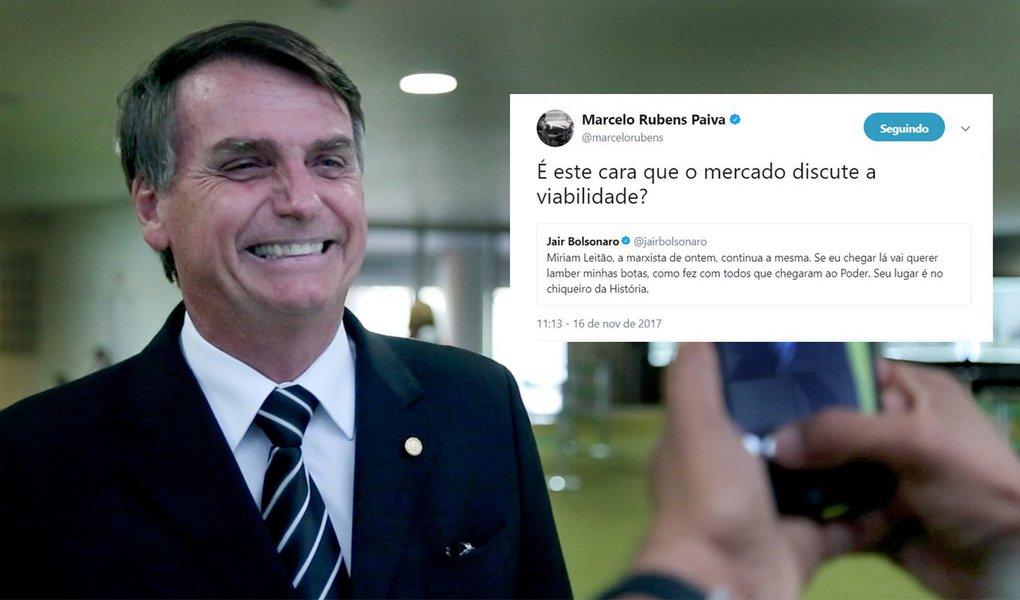 """O escritor Marcelo Rubens Paiva, em sua conta no Twitter, critica o fato do deputado federal e presidenciável Jair Bolsonaro (PSC-RJ) reagir de modo violento a qualquer crítica: """"É este cara que o mercado discute a viabilidade?"""", escreveu Paiva; na terça-feira, Bolsonaro insinuou que a jornalista Miriam Leitão é uma """"porca"""" após a colunista dizer que """"Bolsonaro não sabe nada de economia"""""""