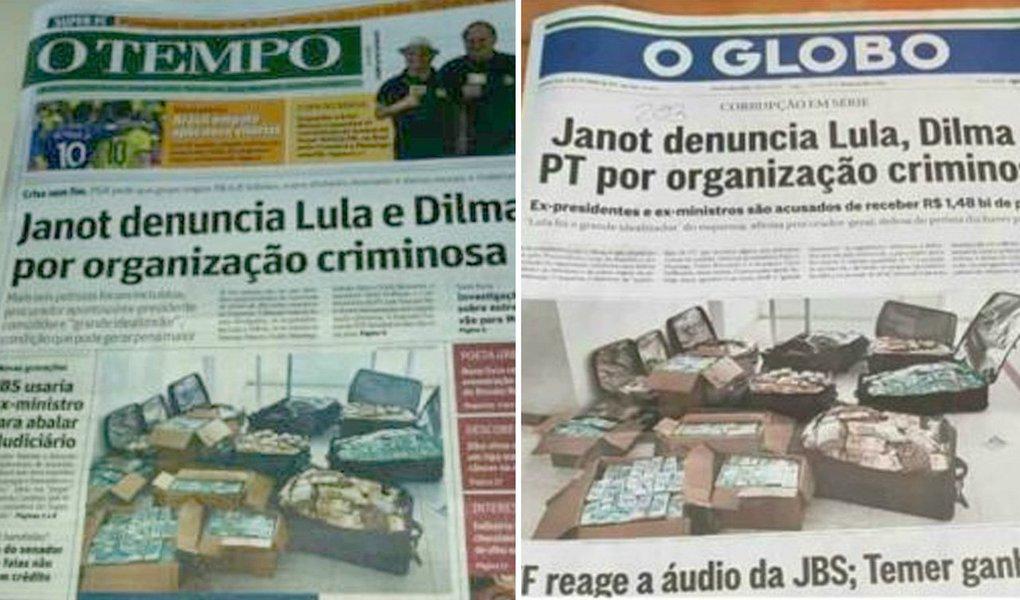 """A capa nesta quarta-feira (6) d'O Globo contra Lula e Dilma, sustentada pela foto dos R$ 51 milhões nas malas de Geddel, não foi um """"acidente"""" do jornal dos Marinho. Pelo contrário, houve um método"""
