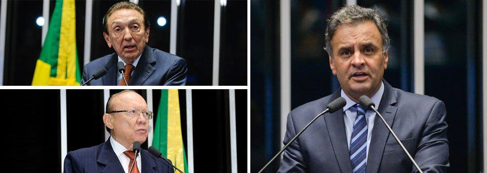 """O plano do presidente do Senado, Eunício Oliveira (PMDB-AL), para salvar Aécio Neves (PSDB-MG) da decisão do Supremo Tribunal Federal conta com a participação dos parlamentares Edison Lobão (PMDB) e João Alberto (PMDB); a estratégia é revogar a determinação do STF que afastou o tucano do Congresso e o impediu de sair de casa no período da noite; """"Se a Constituição foi ferida pela decisão e cabe ao Senado tomar a decisão, baseado na Constituição, obviamente que o Senado vai tomar as providências"""""""
