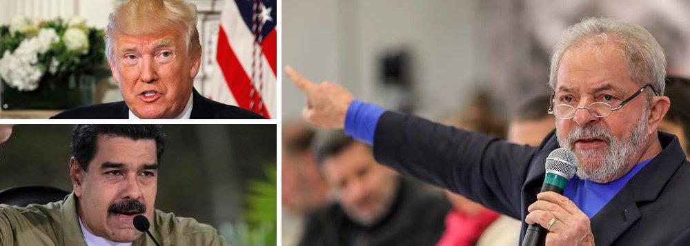 """Durante lançamento do Instituto Futuro, que lutará por maior integração da América Latina, o ex-presidente Lula defendeu uma condenação veemente pelo Brasil à possibilidade de ação militar dos Estados Unidos contra a Venezuela; """"Não podemos permitir que qualquer erro que o Maduro tenha cometido ou venha a cometer seja motivo para o Trump falar em intervenção"""", afirmou Lula; """"O Trump precisa aprender que não resolvemos conflito político com armas e sim com diálogo. E se eles não sabem, que deixem a gente fazer"""", acrescentou o ex-presidente; """"O Instituto Futuro vai ajudar a fazer uma reflexão mais profunda sobre o que estamos vivendo agora.A solução é política. E, pelo Instituto Futuro, precisamos criar novos quadros políticos para dirigir a América Latina"""", defendeu Lula"""