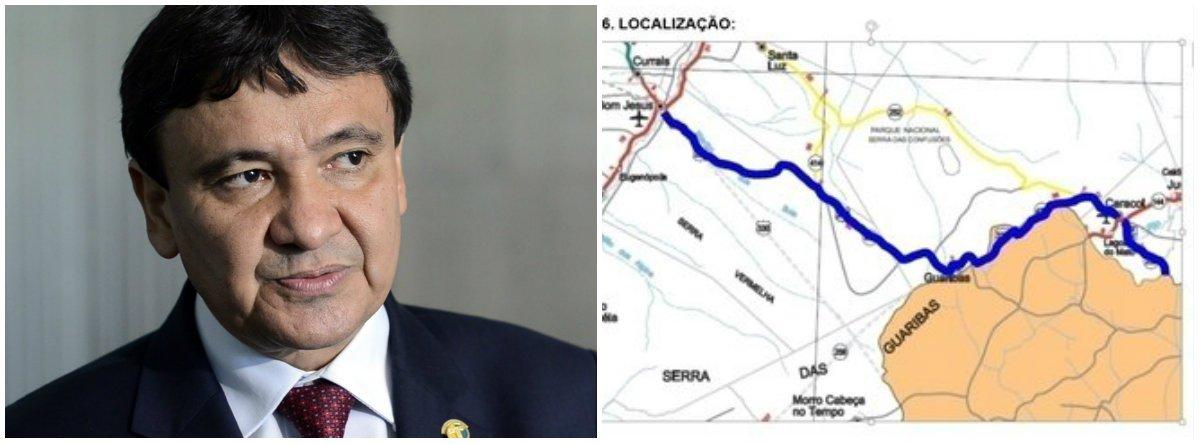 O governador Wellington Dias e o secretário de Estado dos Transportes, Guilhermano Pires, visitam, nesta sexta-feira (11), as obras de pavimentação asfáltica da BR 235, no município de Bom Jesus, no Sul do Piauí; a obra está orçada em R$ 129,6 milhões recursos de convênio firmado entre o Departamento Nacional de Infraestrutura de Transporte (DNIT) e o governo estadual, por meio da Setrans-PI