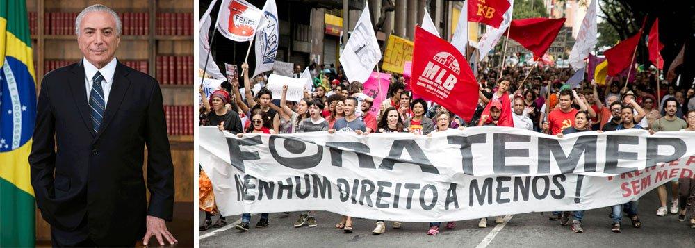 Pesquisa CUT/Vox Populi divulgada nesta sexta-feira confirma o fracasso do golpe de 2016 e demonstra como Michel Temer conseguiu se tornar o governante mais impopular do mundo; rejeitado em todas as regiões do Brasil, ele tem uma aprovação de míseros 3%; além disso, para 84% da população, o Brasil segue no rumo errado e 59% avaliam que a vida pessoal piorou após o golpe; colocado no poder para salvar políticos investigados pela Polícia Federal, Temer tem conseguido estancar a sangria, ao mesmo tempo em que liquida o patrimônio nacional e direitos sociais