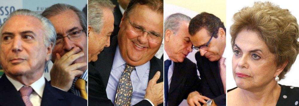 Pouco a pouco, o golpe de 2016, que destruiu a imagem e a economia do Brasil, vai terminando na cadeia; nesta sexta-feira, o mais boquirroto dos golpistas, Geddel Vieira Lima, foi preso após a descoberta de seu bunker com R$ 51 milhões em propinas; Eduardo Cunha, que acolheu a peça fraudulenta formulada pelo PSDB, está prestes a completar um ano em Curitiba; Henrique Eduardo Alves, o primeiro ministro a trair a presidente Dilma Rousseff, já superou três meses na cadeia; outros dois operadores de Michel Temer, Rodrigo Rocha Loures e Tadeu Filipelli, também foram presos, mas conseguiram sair; ao lado de Temer, que já foi denunciado por corrupção e será por obstrução judicial, restam aqueles que respiram por aparelhos, graças ao foro privilegiado