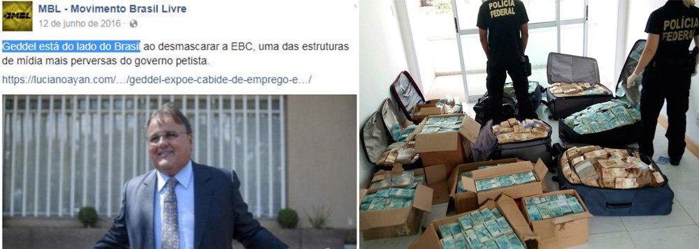 O Movimento Brasil Livre quer esconder mais um dos seus apoios: o movimento se apressou em apagar as fotos com elogios ao ex-ministro Geddel Vieira Lima de seu perfil no Facebook; o ex-ministro de Temer foi flagrado com várias malas de dinheiro em seu apartamento em Salvador e se tornou um incômodo para os apoiadores do impeachment de Dilma Rousseff