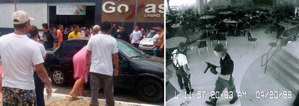 O estudante de 14 anos que foi o autor do ataque com arma de fogo ocorrido no fim dessa manhã no Colégio Goyases, em Goiânia, afirmou que foi motivado por bullying e disse que se inspirou nos casos da escola de Columbine (ocorrido em 1999, nos Estados Unidos), e de Realengo (em 2011, no Rio de Janeiro), de acordo como delegado Luís Gonzaga, da Delegacia de Polícia de Apuração de Atos Infracionais da Polícia Civil de Goiás; o adolescente já foi ouvido pela polícia; o autor dos disparos narrou também que tinha intenção de matar apenas o colega autor do bullying contra ele, mas no momento do ataque, sentiu vontade de fazer mais vítimas