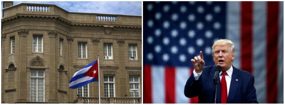O Departamento de Estado dos EUA disse nesta terça-feira (3) que decidiu expulsar quinze diplomatas cubanos, destacando que aos diplomatas foram dados sete dias para deixar os Estados Unidos; o motivo seria o fato de Cuba não ter conseguido resolver ataques sonoros (sônicos) contra diplomatas americanos em Havana