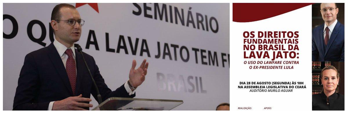 """Responsáveis pela defesa do ex-presidente Lula, no processo da Lava Jato, os advogados Cristano Zanin e Valeska Texeira realizam hoje, às 10 horas, no auditório Murilo Aguiar, da Assembleia Legislativa, a palestra """"Os Direitos Fundamentais no Brasil da Lava a Jato -o uso do lawfare contra o ex-presidente Lula"""".Cristiano Zanin tem feitos severas críticas à atuação de juiz Sérgio Moro e àForça Tarefa de Curitiba que na opinião dele, transformaram a Lava Jato em uma operação que usa o sistema jurídico e a mídia para promover uma perseguição política contra o ex-presidente Lula"""