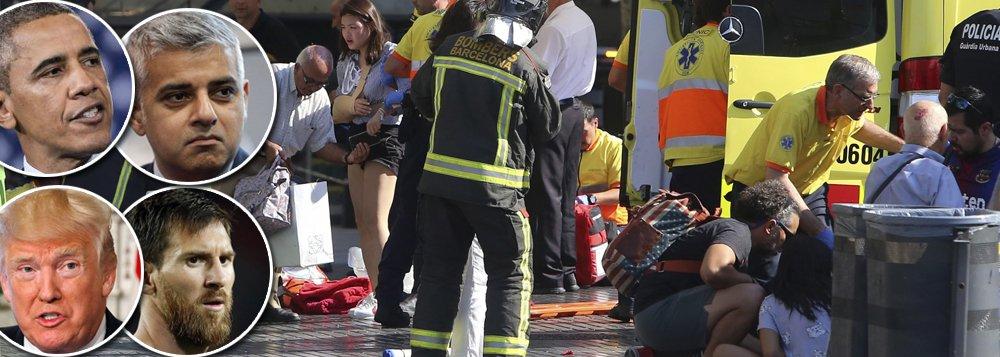 O atentado terrorista ocorrido nesta quinta-feira (17) em Barcelona causou comoção mundial; políticos, esportistas e outras celebridades condenaram o ato de barbárie cometido na cidade espanhola, causando a morte de 13 pessoas e ferindo outras 50; Neymar, Messi, Trump e outros famosos expressaram solidariedade a Barcelona nas redes sociais