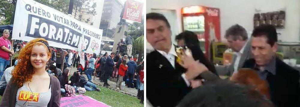 """A autora do escracho contra o deputado Jair Bolsonaro nesta semana em Ribeirão Preto, interior de São Paulo, vem sendo identificada como """"Gabi"""", filiada ao PCdoB; depois da ovada, ela passou a ser alvo de notícias falsas na internet, como a de que vem infectando homens e mulheres com Aids na cidade paulista"""