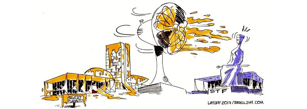"""Nova charge do cartunista Carlos Latuff para o 247 mostra que o procurador-geral da República, Rodrigo Janot, colocou toda a capital federal sob suspeita com o anúncio do novo áudio de delatores da JBS; segundo Janot, há ministros do Supremo citados e """"fatos gravíssimos"""" na conversa"""