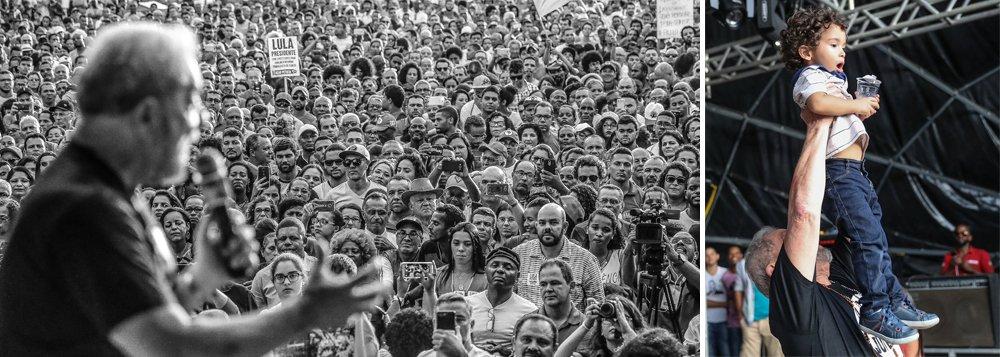 """""""Luiz Inácio Lula da Silva, 71 anos, conhece em Cruz das Almas, na Bahia, Luiz Inácio Lula da Silva, 2 anos e todo um futuro pela frente!"""", diz mensagem publicada no Twitter oficial do ex-presidente, que faz um tour pela Bahia"""