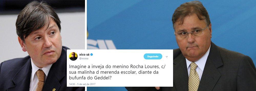 """O jornalista Xico Sá lançou mão da ironia para descrever a indignação diante da apreensão de R$ 25 milhões em dinheiro no apartamento ligado ao ex-ministro Geddel Vieira Lima;""""Imagine a inveja do menino Rocha Loures, com sua malinha de merenda escolar diante da bufunfa de Geddel"""", escreveu Xico em seu Twitter; em julho, Rocha Loures foi flagrado com R$ 500 mil em restaurante de São Paulo"""