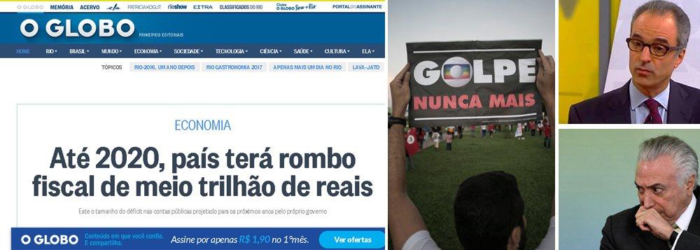 """Grupo de mídia comandado por João Roberto Marinho estampa em seu site que o Brasil produzirá um rombo de meio trilhão de reais até 2020, expondo a falência da política econômica de Michel Temer e Henrique Meirelles; em seu primeiro mandato, a presidente legítima Dilma Rousseff fez superávits de R$ 292 bilhões; depois disso, passou a ser sabotada e não conseguiu mais governar; deposta pela acusação de """"pedaladas fiscais"""", Dilma já teria ajustado as contas se não tivesse sido vítima de um golpe incentivado pela Globo, que agora deve desculpas ao País"""