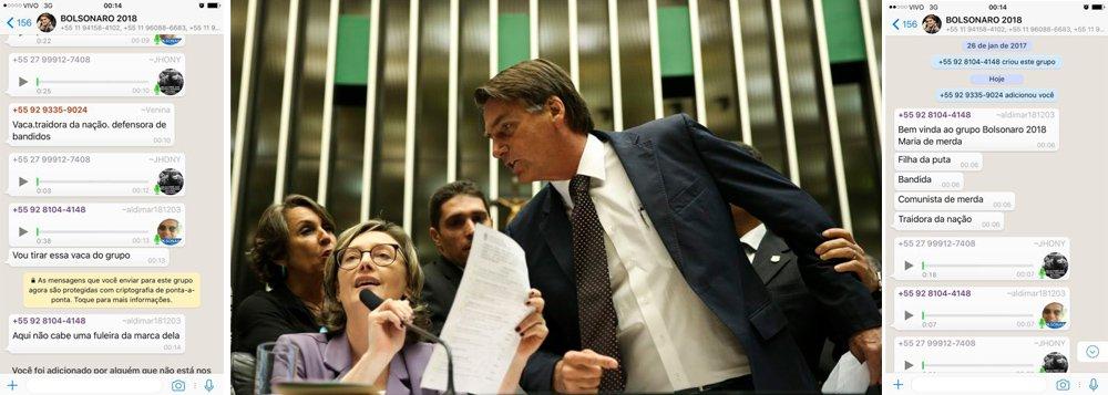 """A deputada federal Maria do Rosário (PT-RS) voltou a ser alvo de ataques fascistas por supostos partidários do também deputado federal Jair Bolsonaro; por meio do Whatsapp, a parlamentar foi chamada de """"vaca"""", """"bandida"""", """"traidora da nação"""", """"comunista de merda"""" e """"filha da p...""""; agressões aconteceram nesta terça-feira (15), pouco após sair o resultado do julgamento da Terceira Turma do Superior Tribunal de Justiça (STJ) queconfirmou, por unanimidade, a condenação de Jair Bolsonaro (PSC-RJ)a indenizar Maria do Rosário e a se retratarpublicamente em jornais e redes sociais após afirmar, em 2014, que somente não estupraria a deputada """"porque ela não merece"""""""