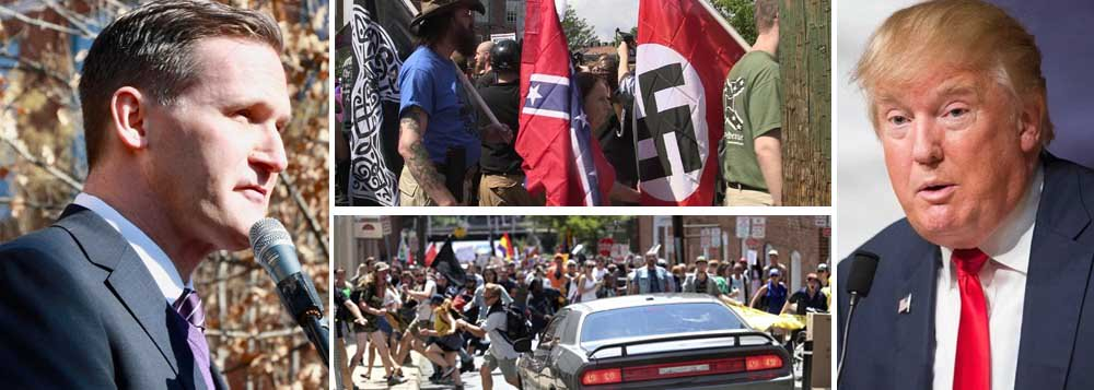 """O prefeito de Charlottesville, o democrata Mike Signer, assegurou neste domingo (13/08) que o atropelamento que, na véspera, deixou uma pessoa morta e mais de 20 feridos foi um """"ato de terrorismo""""; segundo ele, o presidente Donald Trump impulsionou grupos racistas com seus agressivos discursos; """"Vejam a campanha eleitoral que fez"""""""