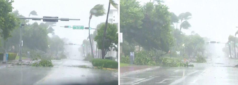 """O furacão Irma causou a morte de três pessoas na Flórida, estado que recebeu nesta madrugada o impacto do olho do ciclone em suas ilhotas no extremo sul dos Estados Unidos, informaram meios de comunicação locais; segundo Brock Long, diretor da Agência Federal de Gerenciamento de Emergências (Fema, na sigla em inglês), o furacão Irma """"vai devastar os Estados Unidos, tanto a Flórida, quanto outros Estados próximos"""""""