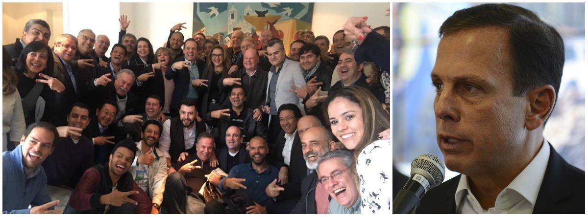 O prefeito de São Paulo, João Doria (PSDB), promoveu um banquete com 37 vereadores da cidade, com o objetivo de estreitar a relação com os parlamentares e, em consequência, garantir votos suficientes para aprovar projetos no Legislativo municipal. Cada convida recebeu uma taça de champanhe e tinha o direito de saborear diversas carnes, peixes e massas leves foram oferecidos aos parlamentares; este ano devem ser votados os projetos como aprivatização do Complexo do Anhembi, que inclui o sambódromo, e a criação do fundo imobiliário, que venderá mais de mil imóveis da Prefeitura