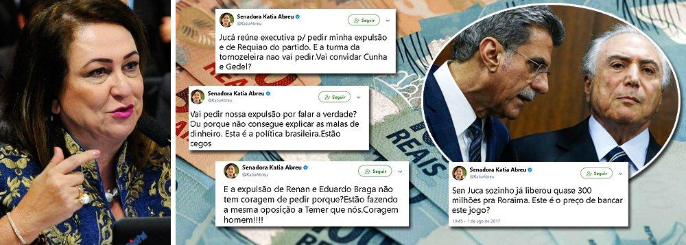 """A senadora Kátia Abreu (PMDB-TO) enquadrou o senador Romero Jucá (PMDB-RR), um dos principais símbolos do golpe de 2016, que tem se movimento para promover a sua expulsão do partido, assim como a do senador Roberto Requião (PMDB-PR); segundo ela, Jucá não consegue explicar as malas de dinheiro entregues pela JBS a aliados de Michel Temer, como Rodrigo Rocha Loures, Eduardo Cunha e o coronel Lima; ela também ironiza o fato de Jucá pedir sua expulsão, mas não fazer nada em relação à turma da tornozeleira; a senadora também denuncia o custo da operação para salvar Temer e diz que Jucá conseguiu arrancar R$ 300 milhões para seus aliados em Roraima; """"este é o preço para pagar este jogo?"""""""