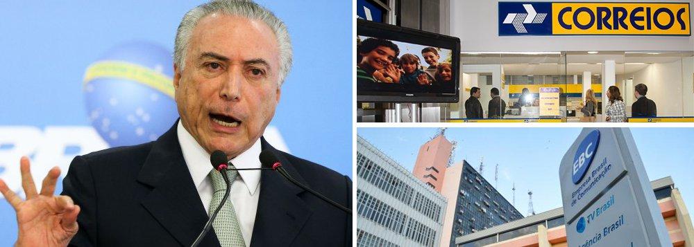 Governo de Michel Temer já mudanças no plano de saúde dos Correios; em outra frente, o Planalto enviou ao Planejamento uma proposta de Programa de Desligamento Voluntário para servidores da EBC, a Empresa Brasil de Comunicação, que cuida, entre por exemplo, da TV Brasil; quer estimular cerca de 500 dos 2.500 funcionários a pedir demissão