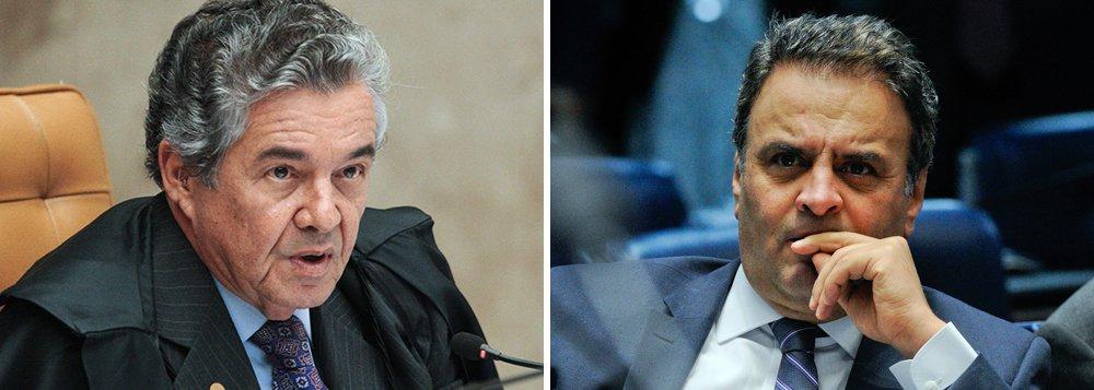 O ministro do STF Marco Aurélio confirmou que o novo pedido de prisão e afastamento do senador Aécio Neves (PSDB-MG), feito pela Procuradoria-Geral da República (PGR), será julgado pela Primeira Turma da Corte, após manifestações dos advogados do senador; a data do julgamento não foi definida; Aécio, que se associou a Michel Temer e ao ex-deputado Eduardo Cunha (PMDB-RJ) para dar um golpe em Dilma Rousseff,foi citado pelo empresário Joesley Batista, dono da JBS, por ter pedido propina de R$ 2 milhões; levantamento do instituto GPP, divulgados pela Carta Capital, apontaram, mês passado, que o tucano, teria somente 1,1% dos votos para presidente da República em seu próprio em Minas