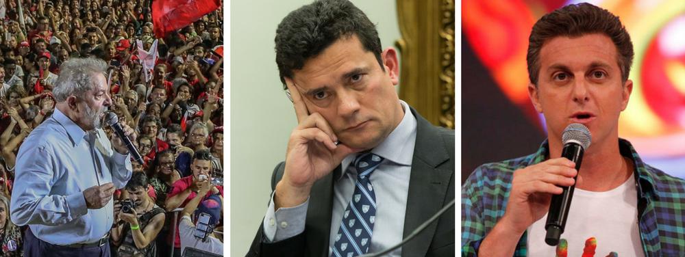 """Líder em todos os cenários de intenção de voto, o ex-presidente Luiz Inácio Lula da Silva afirmou não ter medo da concorrência nas eleições de 2018; o petista desafiou outros possíveis candidatos a disputar contra ele nas urnas e voltou a indicar que é vítima de um complô que tenta impedi-lo de concorrer a um terceiro mandato; """"Que coloque o Ministério Público, que coloque a Rede Globo, o Luciano Huck, que coloque o [juiz Sergio] Moro, que coloque quem eles quiserem para disputar as eleições. Quando a gente abrir a urna a gente vai ver o que vai acontecer depois"""", disse Lula, em meio a gritos a aplausos de apoiadores, sugerindo uma vitória sobre o magistrado e o apresentador global"""