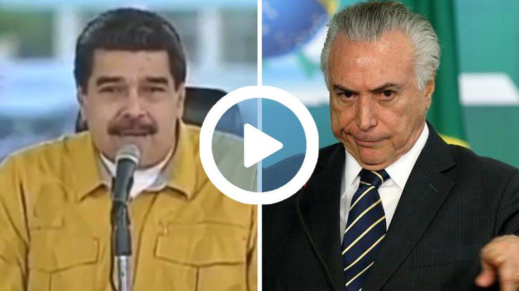 """Neste final de semana, o presidente da Venezuela, Nicolás Maduro, comentou a situação política no Brasil; o presidente vizinho citou as gravações envolvendo Michel Temer, nas quais ele negocia suborno e propinas - para Maduro, Temer será destituído por já ter cumprido seu papel de """"assassino político"""", ao comandar a destituição da presidenta Dilma Rousseff"""