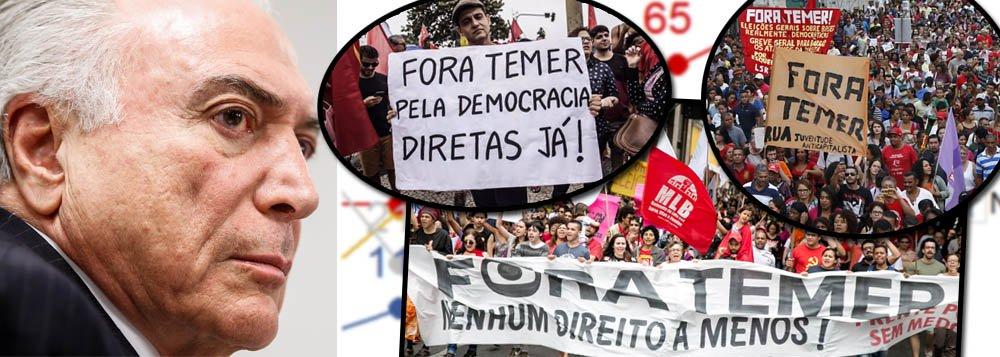 """Levantamento realizado do Vox Populi a pedido da CUT, publicado nesta quarta-feira, 2, mostra que95% dos brasileiros avaliam como negativo o desempenho de Temer como presidente; é a pior avaliação da história; a rejeição atinge todas as camadas da sociedade: 95% entre os ganham até dois ou mais salários mínimos, e 93% entre os que ganham mais de cinco salários; 93% da população defende que os deputados aprovem o prosseguimento da denúncia de corrupção passiva contra Temer e 88% querem eleição direta já; """"Com Temer batendo recordes de impopularidade, é absolutamente inacreditável o que os deputados estão fazendo"""", diz o presidente da CUT, Vagner Freitas"""