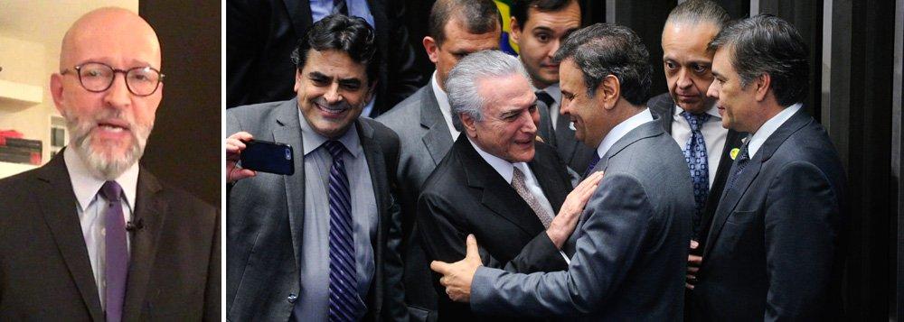 """Para o jornalista Josias de Souza, o PSDB """"está vocacionado para a morte""""; segundo ele, """"as práticas da legenda, suas ambiguidades, suas contradições mal disfarçam a vontade, a urgência da morte""""; """"Protagonista do seu próprio cortejo fúnebre, o PSDB caminho rumo ao fenecimento carregando as alças de dois pesos mortos: o caixão do governo Temer e o caixão de Aécio Neves"""", completa"""