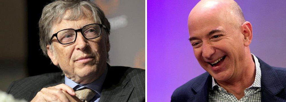 O CEO da Amazon, Jeff Bezos, superou Bill Gates e passa a ser a pessoa mais rica do mundo, com fortuna pela primeira vez acima de US$ 90 bilhões, de acordo com a Forbes. Na abertura de mercado nesta quinta-feira, Bezos acumulava patrimônio de US$ 90,5 bilhões, o que o coloca US$ 400 milhões à frente do fundador da Microsoft, Bill Gates