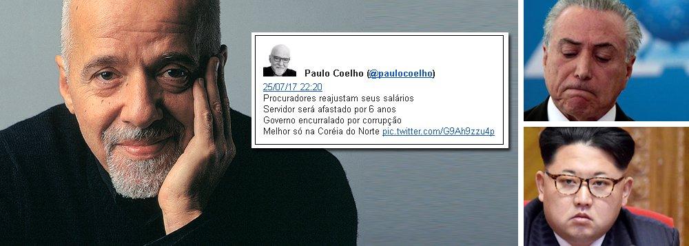 """O escritor Paulo Coelho resumiu, de forma irônica, o Brasil pós-golpe, juntando os fatos mais recentes do noticiário; de um lado, os procuradores se concedem um reajuste salarial 450% superior à inflação; no Executivo, o governo traça um plano para afastar servidores por seis anos, enquanto Michel Temer segue encurralado pela corrupção; """"melhor, só na Coreia do Norte"""", pontuou; recentemente, Paulo Coelho também escreveu que o único crime hediondo no Brasil parece ser a pedalada fiscal"""