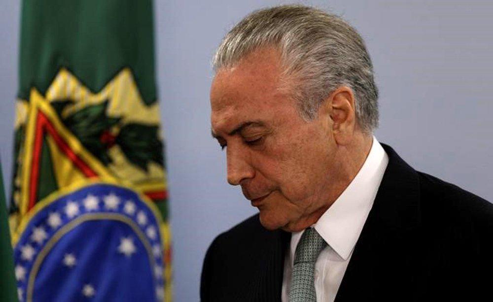 Presidente Michel Temer durante pronunciamento no Palácio do Planalto em Brasília 18/05/2017 REUTERS/Ueslei Marcelino