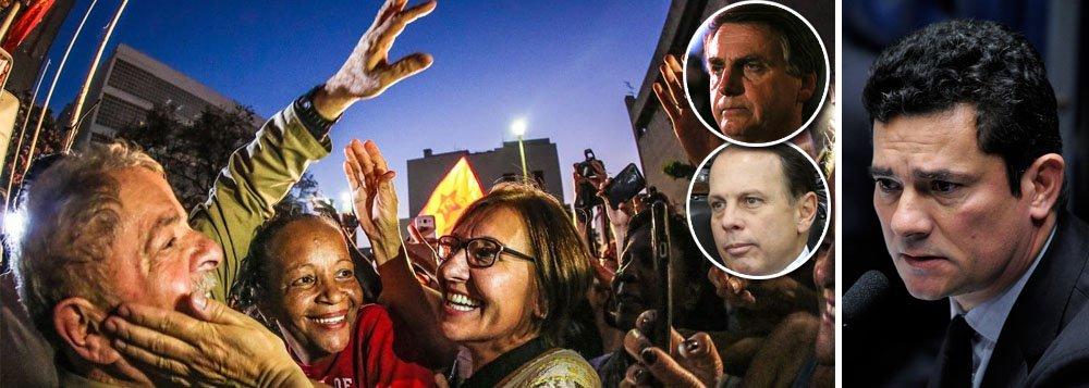 A primeira pesquisa eleitoral realizada após a condenação de Luiz Inácio Lula da Silva pelo juiz Sérgio Moro mostra que o episódio não abalou as intenções de voto no petista; Lula segue líder em todos os cenários e venceria as eleições de 2018; o levantamento foi feito peloInstituto Paraná Pesquisas; no cenário em que o candidato tucano é o prefeito de São Paulo, João Doria,Lula tem 25,8% da preferência dos eleitores, seguido pelo deputado Jair Bolsonaro (18,7%) e por João Dória (12,3%); Lula vence todos os adversários no segundo turno