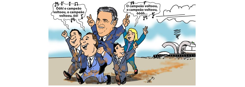 Seus aliados, responsáveis pela salvação do tucano, ovacionam o retorno de Aécio Neves ao mandato também sujos de lama, ilustra a charge de Geuvar Oliveira