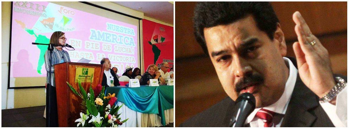 """PT e o PC do B subscreveram, em Nicarágua, a resolução final do 23.º Encontro do Foro de São Paulo, organização que reúne vários partidos de esquerda da América Latina e do Caribe; presidente do PT, senadora Gleisi Hoffmann (PR), disse que o partido manifesta """"apoio e solidariedade"""" ao governo do Partido Socialista Unido da Venezuela (PSUV), seus aliados e ao presidente Nicolás Maduro """"frente à violenta ofensiva da direita contra o governo da Venezuela""""; segundo o MP do país vizinho, a violência política provocada por manifestações deixou mais de cem mortos desde abril; deputado Paulo Teixeira (PT-SP), secretário-geral do PCB, Edmilson Costa, e o presidente nacional do PDT, Carlos Lupi, também manifestaram apoio"""