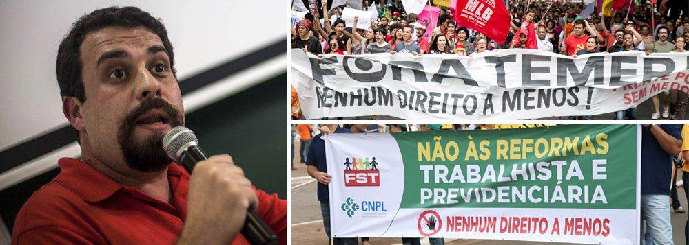 """Pela saída do governo Temer e suas reformas que destroem direitos, pela realização de eleições diretas que resgatem """"a soberania do voto popular"""", e contra a """"condenação política"""" do ex-presidente Lula, o coordenador do MTST, Guilherme Boulos, convoca a população a participar das mobilizações que ocorrerão em São Paulo, e em diversas capitais do país, nesta quinta-feira (20);""""A condenação do Lula, na medida em que foi uma condenação sem provas, na medida em que, desde o princípio, o processo foi conduzido com presunção de culpa, de maneira viciada, foi uma condenação política, e não jurídica"""", afirmou; em São Paulo, a manifestação terá concentração às 17h, em frente ao Masp"""