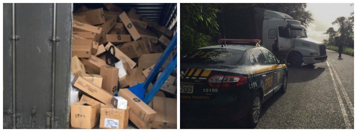 A Polícia Rodoviária Federal (PRF) recuperou uma carga de tonners avaliada em R$ 1,5 milhão; dois veículos roubados também foram recuperados; ação aconteceu a 300 metros da BR-101, em Alagoas; uma ligação de uma empresa de rastreamento de veículos informando que havia perdido contato com o motorista de um caminhão e que suspeitava que ele havia sido roubado foi fundamental para ação da PRF
