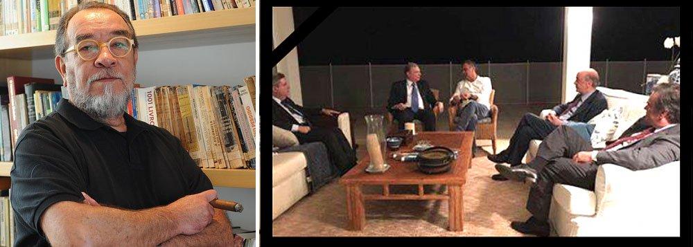 """""""Não sei se é em todo o Brasil, mas em Minas Gerais quando o sujeito está com o pé na cova, na bica de fazer checkout, o povo diz que o moribundo até já recebeu a visita da saúde. Foi nisso que pensei quando vi esta foto feita hoje, em que aparece a finíssima flor do tucanato na residência do démi-sénateur Aécio Neves: foram fazer a visita da saúde ao mineirinho"""", diz o escritor Fernando Morais, editor do Nocaute"""