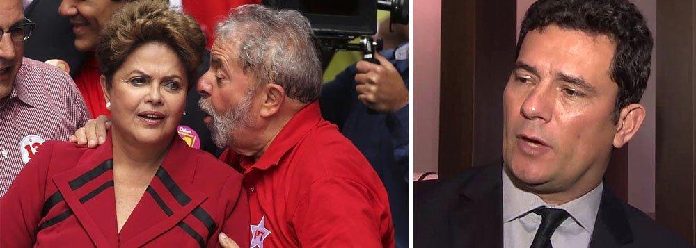 """""""Verdadeiro lawfare. Reinado da 'justiça do inimigo', retratado nessa arbitrariedade. Presto mais uma vez minha solidariedade a Lula"""", postou a presidente deposta Dilma Rousseff no Twitter, usando termos jurídicos que caracterizam perseguição para definir a decisão do juiz Sergio Moro que sequestrou, nesta semana, todos os imóveis do ex-presidente Lula e bloqueou R$ 606 mil em suas contas bancárias; """"Sequestrar o imóvel em que Lula vive com a família e bloquear suas contas pessoais é uma perseguição. Uma nova injustiça"""", completou Dilma"""