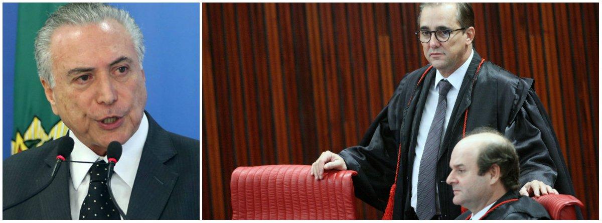 """Michel Temer disse que a decisão do Tribunal Superior Eleitoral (TSE) de não cassar a chapa Dilma-Temer, eleita em 2014, foi tomada """"de modo independente"""", após um debate onde, de forma """"plena e absoluta"""", prevaleceu """"a Justiça""""; dos quatro votos que teve, Temer contou com dois ministros que ele próprio nomeou e com o amigo Gilmar Mendes, que, na prática, agiu como seu advogado de defesa"""