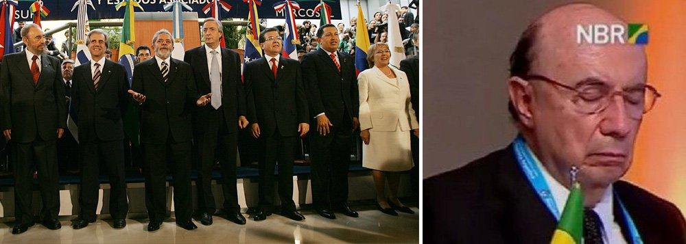 """""""Há exatos 11 anos: ninguém dormia na reunião da Cúpula do Mercosul"""", postou o ex-presidente no Twitter, com uma foto da cúpula naquele ano; nesta sexta-feira 21, o ministro da Fazenda, Henrique Meirelles, tirou alguns cochilos enquanto o chefe, Michel Temer, discursava ao seu lado"""