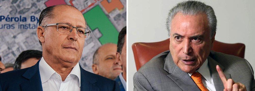 """Governador de São Paulo, Geraldo Alckmin (PSDB), nega que a decisão da executiva nacional do partido de se manter na base aliada de Michel Temer passa pela condição de uma aliança com o PMDB em 2018; """"Não tem nada a ver com 2018"""", disse; segundo ele, o PSDB tomou a decisão de apoiar Temer """"porque entendeu que, neste momento, sair do governo prejudicaria ainda mais o Brasil"""""""