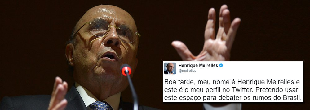 """Às vésperas da possível queda de Michel Temer, o ministro da Fazenda, Henrique Meirelles, estreou nas redes sociais nesta quarta-feira 7, dizendo-se disposto a usar o espaço para debater o Brasil; """"Boa tarde, meu nome é Henrique Meirelles e este é o meu perfil no Twitter. Pretendo usar este espaço para debater os rumos do Brasil"""", postou; sonho das forças que golpearam a democracia em 2016 é preservar o golpe, mesmo que sem Temer, que se tornou moralmente insustentável; confira as reações à estreia de Meirelles"""