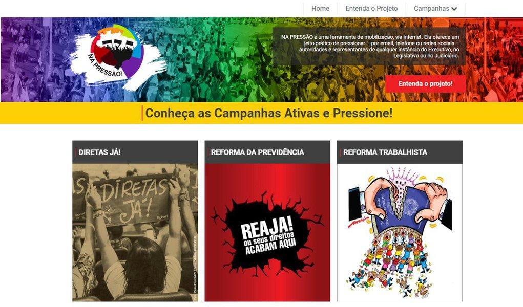 """Site """"Na pressão"""" oferece um caminho para que os brasileiros pressionem por email, telefone ou redes sociais as autoridades e representantes de qualquer instância do Executivo, no Legislativo ou no Judiciário;três horas depois de lançada, a página já havia registrado 31.742 pressões, até 13h30, e mais de 2.700 acessos"""