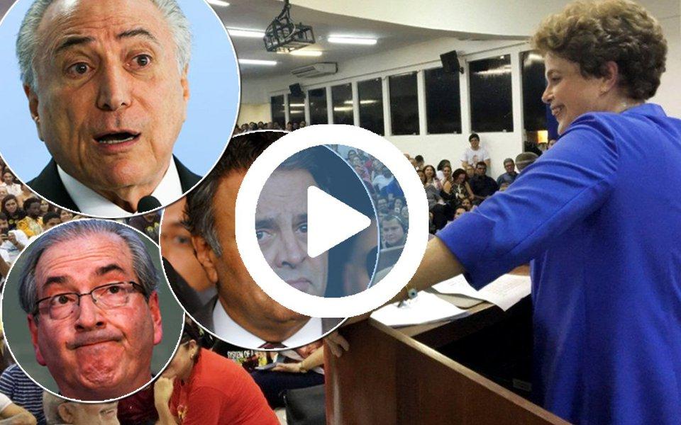 """Em palestra sobre gestão pública em João Pessoa, na Paraíba, neste sábado 22,a presidente legítima Dilma Rousseffafirmou que """"a história está sendo implacável com os golpistas"""" e que """"aquela discussão que enfrentamos durante todo o ano em 2016 e metade de 2017, se o impeachment foi ou não um golpe parlamentar, saiu do terreno da especulação e está no terreno dos fatos""""; """"É inquestionável hoje que foi dado um golpe"""", disse; Eduardo Cunha, responsável pela aceitação do pedido de impeachment da petista quando era presidente da Câmara, está hoje preso; e Aécio Neves, derrotado nas eleições e principal articulador do movimento para tirar Dilma do poder, é o mais delatado da Lava Jato e já virou cadáver político nas pesquisas"""