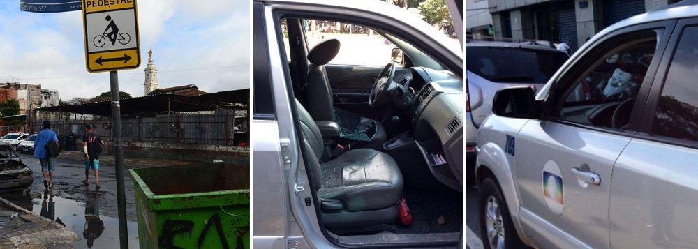 Equipe de reportagem da Globo tem carro depredado no centro de São Paulo; repórteres da emissora estavam entrevistando comerciantes paulistanos para matéria sobre a região da Cracolândia, informa o Portal Imprensa